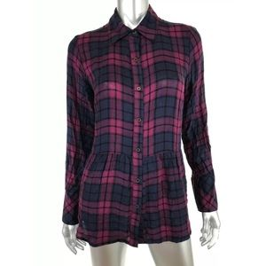 Knox Rose plaid waffle knit panel back button down
